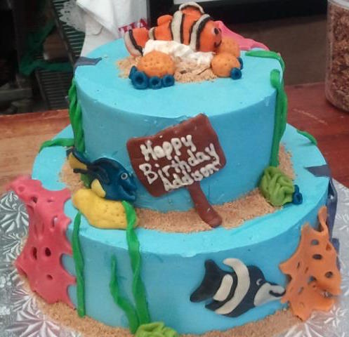 two tiered ocean-themed birthday cake